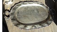 2 large sterling trays